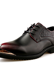 Men's Shoes Leather Fall Comfort Formal Shoes Oxfords Metallic Toe For Party & Evening Office & Career Black Red