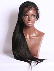 Vente chaude 10-26 pouces 130% de densité 13 * 6 perruque avant en dentelle perruque de dentelle droite pleine soie perruque de cheveux
