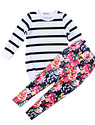 Girls' Stripes Floral Sets Cotton Polyester Spring Fall Long Sleeve Clothing Set Fashion Kids Girls Clothes Set