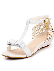 Damen Schuhe PU Sommer Komfort Sandalen Mit Für Normal Weiß Rosa Mandelfarben