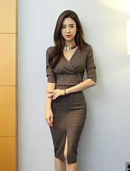 Women's Casual/Daily Sexy Fall T-shirt Skirt Suits,Solid Print V Neck ¾ Sleeve