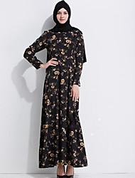 Ample Robe Femme Décontracté / Quotidien simple,Fleur Col Arrondi Maxi Manches Longues Polyester Printemps Automne Taille Haute