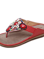 Women's Slippers & Flip-Flops Light Soles Microfibre Spring Summer Fall Winter Casual Outdoor Dress Beading Flat HeelAlmond Blue Ruby