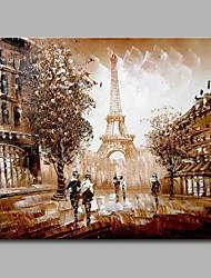 Pintados à mão Arquitetura Horizontal,Artistíco Vintage Clássico Moderno/Contemporâneo Escritório/Negócio Natal Ano Novo 1 Painel Tela