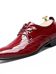 Для мужчин обувь Полиуретан Весна Осень Формальная обувь Туфли на шнуровке Шнуровка Назначение Для вечеринки / ужина Черный Желтый Вино