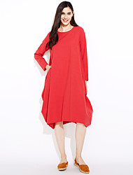 Women's Casual/Daily Simple Tunic Dress,Solid Round Neck Midi Long Sleeves Cotton Spring Summer Mid Rise Inelastic Thin