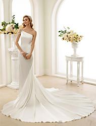 Trompeta / Sirena Un Hombro Catedral Satén Estirado Vestido de novia con Cristal Cuentas por LAN TING BRIDE®