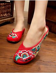 Для женщин Обувь Ткань Лето Удобная обувь Тапочки и Шлепанцы Назначение Повседневные Черный Красный Зеленый