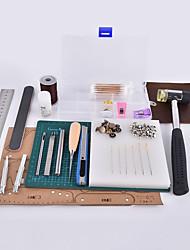 Kit de ferramentas de couro feito à mão e de madeira de caranguejo, tipo simples, por si mesmo