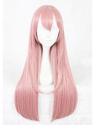 Perucas sintéticas Sem Touca Longo Liso Rosa Faux Locs Wig Peruca para Cosplay Perucas para Fantasia