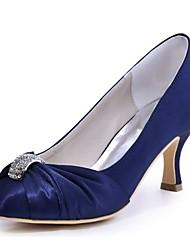 Damen Hochzeit Schuhe Pumps Stretch - Satin Frühling Herbst Hochzeit Party & Festivität Kristall StöckelabsatzSchwarz Marinenblau Blau