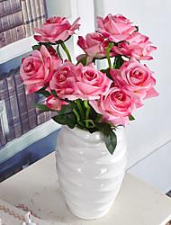1 Branch Plastic Roses Plum Plants Tabletop Flower Artificial Flowers Living Room Bedroom Decoration Flower Pastoral Style Wedding Supplies
