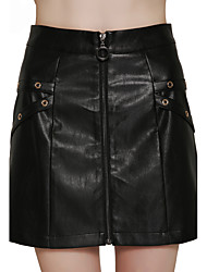 Lztlylzt Women's Work Going out Casual/Daily Above Knee SkirtsSimple A Line Solid Fall Winter