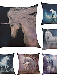 Set of 6  Unicorn Linen Cushion Cover Home Office Sofa Square Pillow Case Decorative Cushion Covers Pillowcases (18*18Inch)