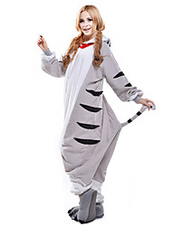 Kigurumi Pajamas Chi's Sweet Home/Cheese Cat Cat Leotard/Onesie Festival/Holiday Animal Sleepwear Halloween White Patchwork Polar Fleece