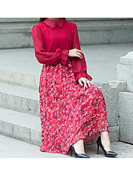 Ample Robe Femme Décontracté / Quotidien Couleur Pleine Col Arrondi Maxi Sans Manches Coton Eté Taille Basse Micro-élastique Moyen
