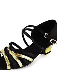 Non Customizable Latin Kid's Dance Shoes Sandals Satin Cuban Heel Black