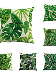 Set Of 6 Vintage Design Tropical Plant Printing Pillow Cover Creative Sofa Cushion Cover Cotton/Linen Pillow Case Home Decor