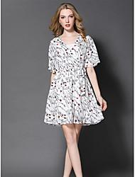Gaine Robe Femme Sortie Mignon,Imprimé Col en V Au dessus du genou Demi Manches Polyester Eté Taille Normale Micro-élastique Moyen