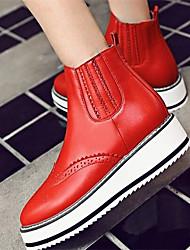 Women's Boots Comfort PU Winter Casual Comfort Ruby Black 1in-1 3/4in