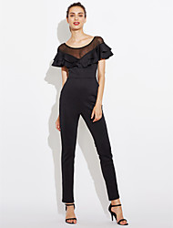 Women's High Rise Casual/Daily Club Jumpsuits,Sexy Street chic Skinny Mesh Ruffle Solid Summer
