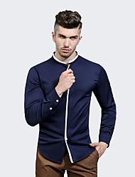 Camicia Da uomo Casual Semplice Tinta unita A V Cotone Manica lunga
