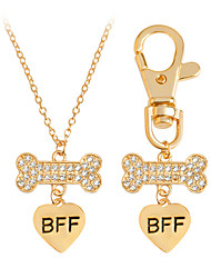2 Pcs Dog Bone Best Friends BFF Heart Charm Necklace Keychain Dog Lover Gift