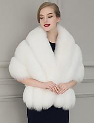 Women's Faux Fur Rectangle Infinity Scarf Solid Fall Winter Shawl Cloak White/Black