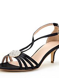 Для женщин Сандалии Обувь через палец Шёлк Лето Осень Свадьба Для праздника Для вечеринки / ужина Лак Пряжки На шпилькеЗолотой Черный