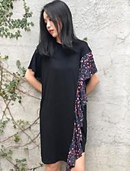 Tee Shirt Robe Femme Décontracté / Quotidien Imprimé Col Arrondi Asymétrique Manches Courtes Coton Eté Taille Normale Micro-élastique Fin
