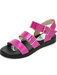 Women's Sandals Gladiator Summer Patent Leather Casual Office & Career Dress Split Joint Flat Heel White Black Ruby Blue Flat