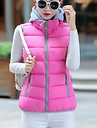 Women's Casual/Daily Simple Winter Vest,Color Block Hooded Sleeveless Short Cotton