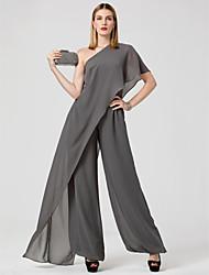 Combinaison Une Epaule Longueur Sol Mousseline de soie Soirée Formel Robe avec Plissé par TS Couture®