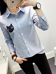 Women's Casual/Daily Work Simple Spring Fall Shirt,Striped Embroidery Shirt Collar Long Sleeves Cotton Rayon Thin
