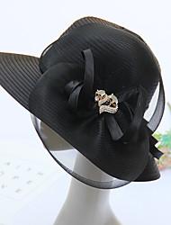 Mujer Primavera/Otoño Verano Sombrero Flor Organza Sombrero Playero Sombrero Floppy,Sólido Color Mixto