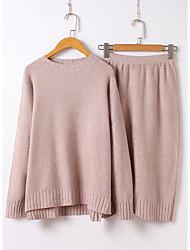 Mujer Simple Fiesta Casual/Diario Otoño Invierno T-Shirt Falda Trajes,Escote Redondo Un Color Manga Larga
