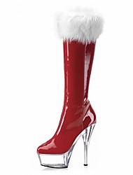 Damen Stiefel Modische Stiefel Vlies PU Winter Party & Festivität Feder Reißverschluss Stöckelabsatz Schwarz Pink Rot Klar 12 cm & mehr