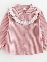 Girls' Stripe Shirt,Cotton Polyester Spring Fall Long Sleeve