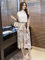 Mujer Simple Casual/Diario Verano T-Shirt Pantalón Trajes,Cuello Barco Hoja Sin Mangas