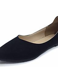 Women's Flats Comfort Flocking Summer Casual Split Joint Flat Heel Yellow Gray Black Flat