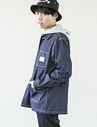 Men's Going out Casual/Daily Simple Spring Fall Denim Jacket,Solid Hooded Long Sleeve Short Cotton Polyester Others