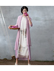 Women's Casual/Daily Swing Dress,Solid Stand Maxi Half Sleeve Polyester Summer Low Rise Inelastic Thin