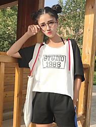 Damen Einfarbig Einfach Sport T-shirt,Mit Kapuze Halbe Ärmel Baumwolle