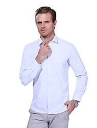 Men's Plus Size Business Casual Slim Solid Color Long Sleeved Shirt Square Neck Cotton Polyester Medium