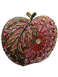 Mulher Bolsas Todas as Estações Metal Bolsa de Mão com Cristais Corrente de Metal Corrente Riscas para Casamento Festa/Eventos Formal