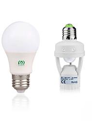 5W Круглые LED лампы 10 SMD 2835 400-500 lm Тёплый белый Белый Декоративная Датчик человеческого тела V 1 комплект E27