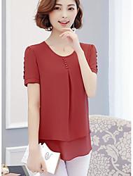 Feminino Blusa Casual Simples Sólido Algodão Decote Redondo Manga Curta