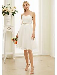 Linha A Princesa Decote Princesa Até os Joelhos Renda Organza Vestido de casamento com Detalhes em Cristal Caixilhos / Fitas de LAN TING
