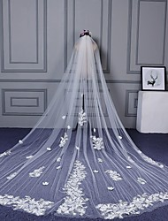 Wedding Veil One-tier Cathedral Veils Cut Edge Lace Applique Edge Lace Organza Tulle