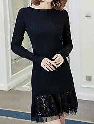 Tricot Robe Femme Décontracté / Quotidien simple,Mosaïque Col Arrondi Au dessus du genou Manches Longues Coton Acrylique Automne Hiver